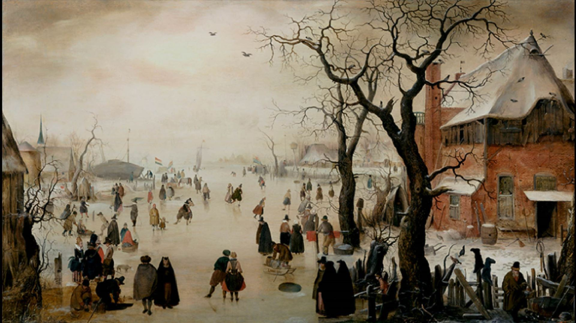 Hendrick Avercamp, Winter Landscape near a Village, about 1610–15. Oil on panel. 53.3 x 94.6 cm. Promised gift of Rose-Marie and Eijk van Otterloo, in support of the Center for Netherlandish Art. Courtesy, Museum of Fine Arts, Boston.
